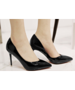 9AB018 Candy color pointy pumps,stiletto, patent leather,size 4-8.5, black - $78.80