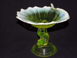L.G. Wright Northwood Dolphin Canary Yellow Vaseline Opalescent Glass Co... - $83.66