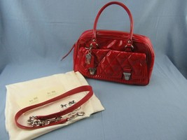 Coach Poppy Red Patent Leather Liquid Gloss Satchel Quilted Storage Bag ... - $70.00