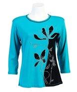 "Jess N Jane ""Misty"" Teal Top Scoop Neck 3/4 Sleeve Shirt-s - $37.99"
