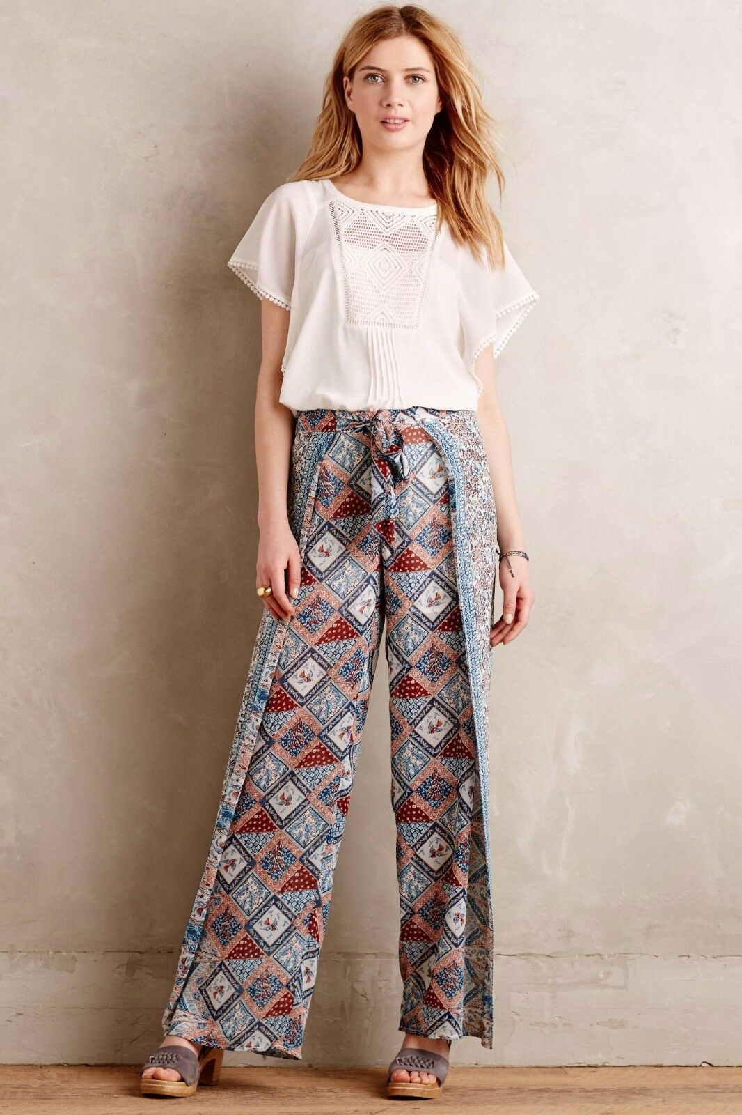 Primary image for NWT $138 Anthropologie Eleveness Seaflower Wide Leg Pants Size 2 T  TALL