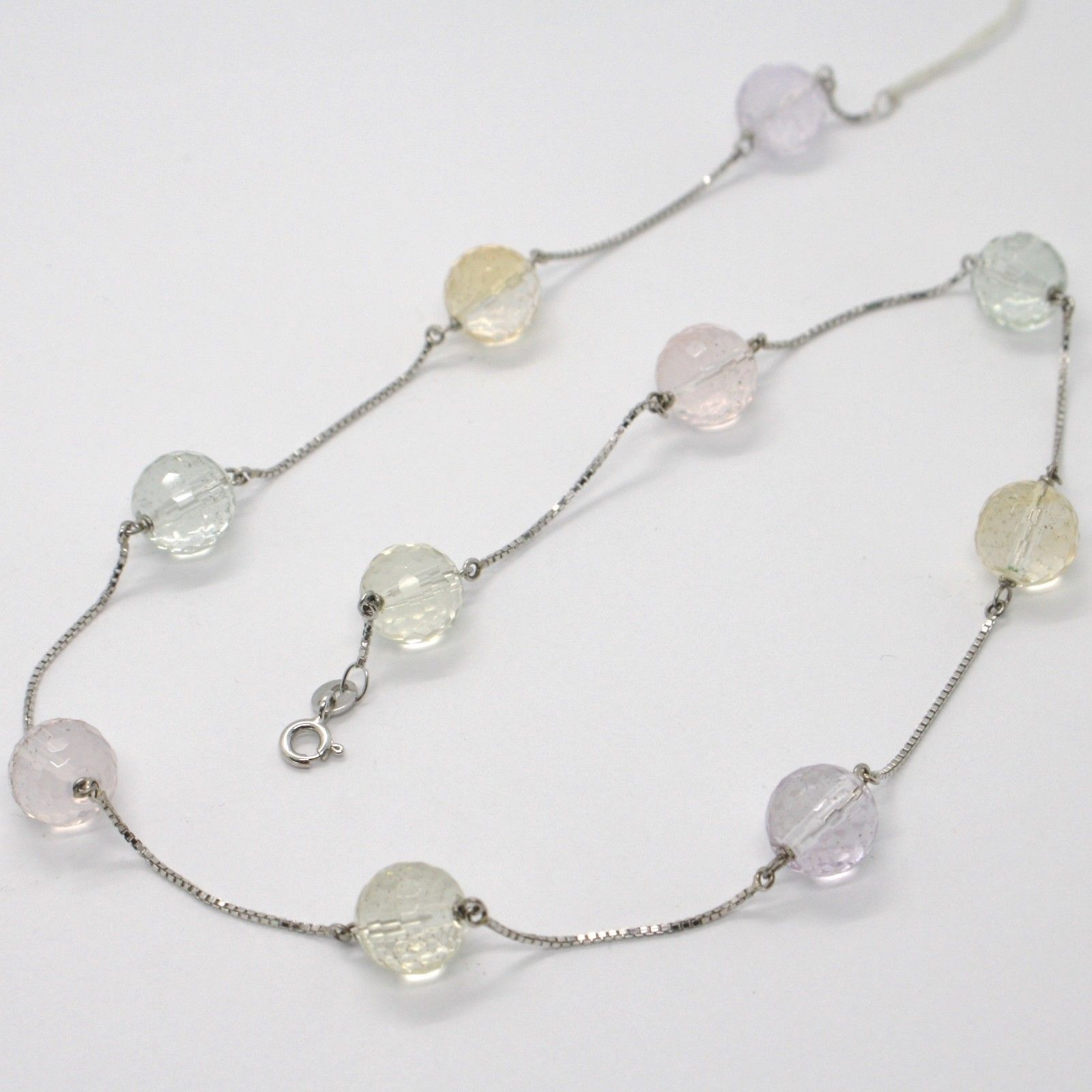 18K WHITE GOLD NECKLACE VENETIAN CHAIN FACETED CITRINE AMETHYST PRASIOLITE LEMON
