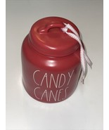 """NEW 2021 VHTF Rae Dunn  """"Candy Cane""""Ceramic Red Orange Chubby Canister - $79.99"""