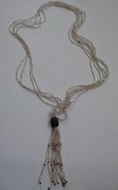 Tropicalia Handcrafted Beige Pink Multi Layer Beaded Necklace Jelly Fish Indie - $3.47