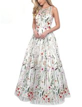 Women's Ball Gown Scoop Neck Embroidery Floral Print Long Evening Prom Dresses - $123.66