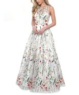 Women's Ball Gown Scoop Neck Embroidery Floral Print Long Evening Prom D... - $123.66