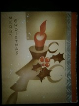 Art Deco Candle Candlestick 1930's Vintage Christmas Card - $4.00