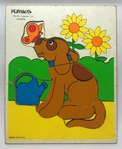 Playskool Dog in Garden with Butterfly Wooden Puzzle 7 Pieces 186-09 Made in USA - $15.83
