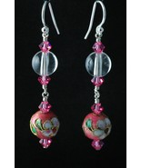 Sterling Silver Earrings_Cloisonne and Rose Crystals - $30.00