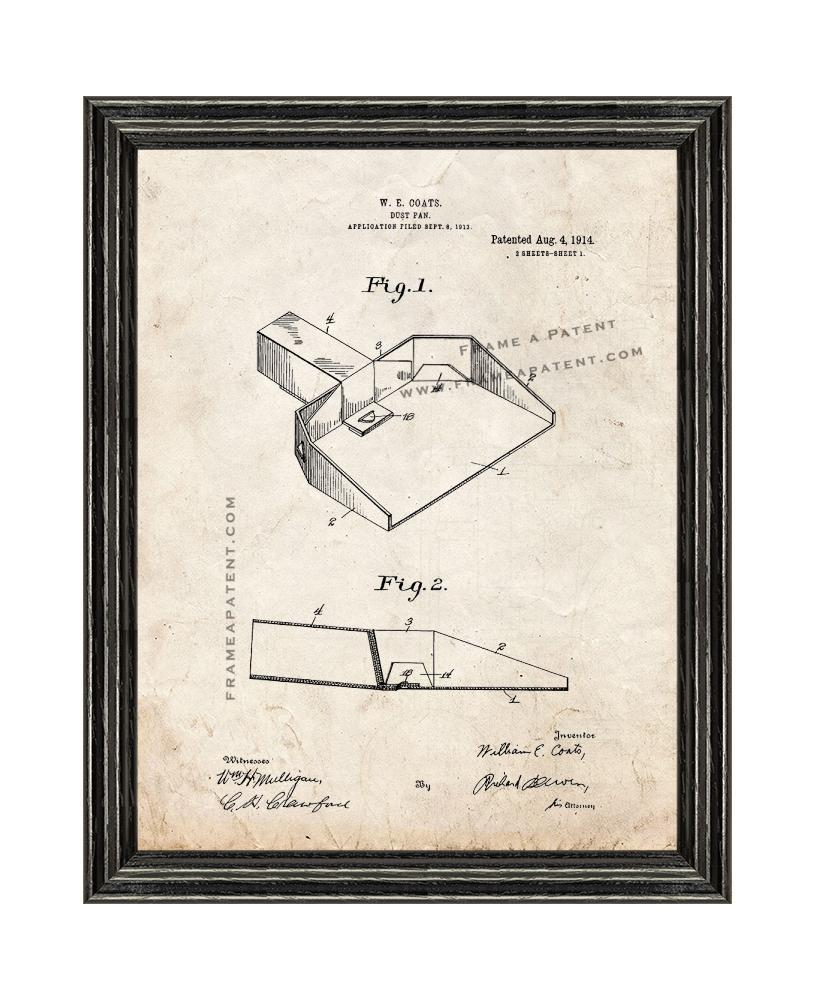 Primary image for Dust Pan Patent Print Old Look with Black Wood Frame
