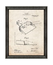 Dust Pan Patent Print Old Look with Black Wood Frame - $24.95+