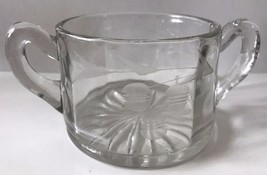Vintage Elegant Clear Glass Open Sugar Bowl With Etched Acorn Double Handle - $21.49