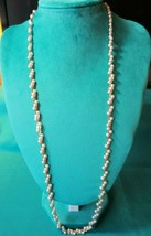 """Vintage Napier Gold tone Braided Link 30"""" Faux Pearl Station Chain Necklace - $4.25"""