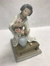 Lladro Figurine, Geisha  with flower basket. Retired  4840 Vintage marked - $138.59