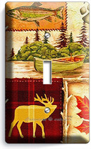 Hunting Cabin Fishing Moose Patchwork 1 Gang Light Switch Wall Plates Room Decor - $10.99