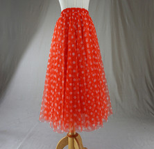 Polka Dot Tulle Midi Skirt High Waisted A-line Tulle Tutu Skirt Blue Dotted image 12
