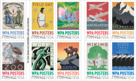 USPS 2017 Sheet of 20 Forever Stamps. WPA Posters. MNH. - $10.99