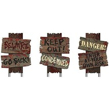 Amscan Creepy Cemetery Halloween Party Assorted Warning Sign Decoration ... - $24.97