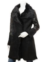 QASTAN Women's New Black Suede Sheepskin Leather Sleeves Long Coat QWJ84 - $494.01+