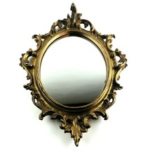 "Vintage Mirror Oval Syroco Gold Wall Hanging Frame Ornate 15""x10.5"" Anti... - $58.30"