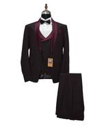 Men Burgundy 3 Piece Suits Designer Party Wear Dinner Wedding Suits - $189.99