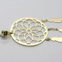 18K YELLOW GOLD DREAMCATCHER PENDANT, FEATHER, MADE IN ITALY, 1.8 INCHES, 45 MM image 4