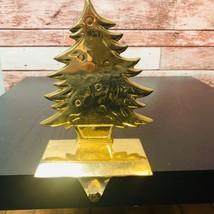 Gold Tone Christmas XMAS Tree Shaped Stocking Holder Hanger - $13.98