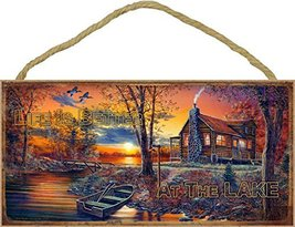 """Life is better at the Lake (cabin with boat) 5"""" x 10"""" wood plaque, sign  - $12.86"""