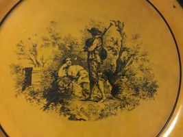 "Vintage Neiman Marcus Metal Round Serving Tray Platter Italy 17"" Orange Rustic image 4"