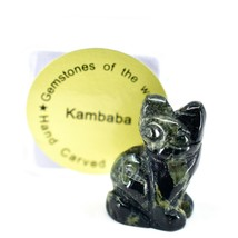 Kambaba Jasper Gemstone Tiny Miniature Kitty Cat Figurine Hand Carved in China