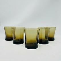 5 - Anchor Hocking Linden Mocha Flared Glasses Brown Whiskey Vintage Bar... - $38.61