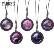 TAFREE charm Universe Solar System Wooden Necklace Round Glass Cabochon Pendant  - $7.88