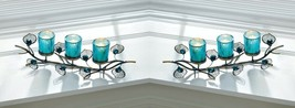 2 Turquoise Blue Peacock Plumes on Branch 3 Cup Votive Candle Holders  - $51.95