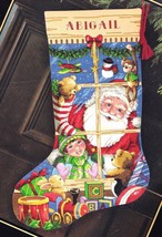 Dimensions Santas Toys Shop Window Christmas Eve Cross Stitch Stocking K... - $54.95