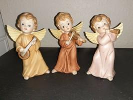 """Homco=""""Angels SERENADE""""-EACH Bearing A Madolin, Horn &Violin - $10.30"""