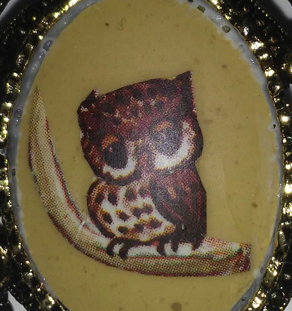 Vintage Owl Pin Brooch Small Oval Picture Gold Tone Pin