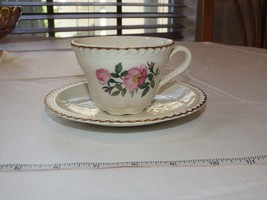 The Harker Pottery Co. Made in USA 22 KT Gold Trim coffee tea cup & saucer set~ - $16.33