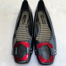 Womens Liz Claiborne Philicia Black w Red Buckle Flats Shoes Size 6.5 - $18.00
