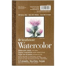 """Strathmore 298-103 400 Series Watercolor Pad, 5.5""""x8.5"""" Tape Bound, 12 S... - $8.38"""