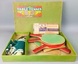 Vintage. Antique 1930s Milton Bradley Table Tennis Ping Pong Set  - $28.05