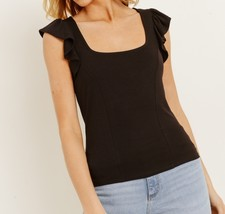 Black Square Neck Top, Square Neck Tank Top, Black Ruffle Sleeve Top, Womens