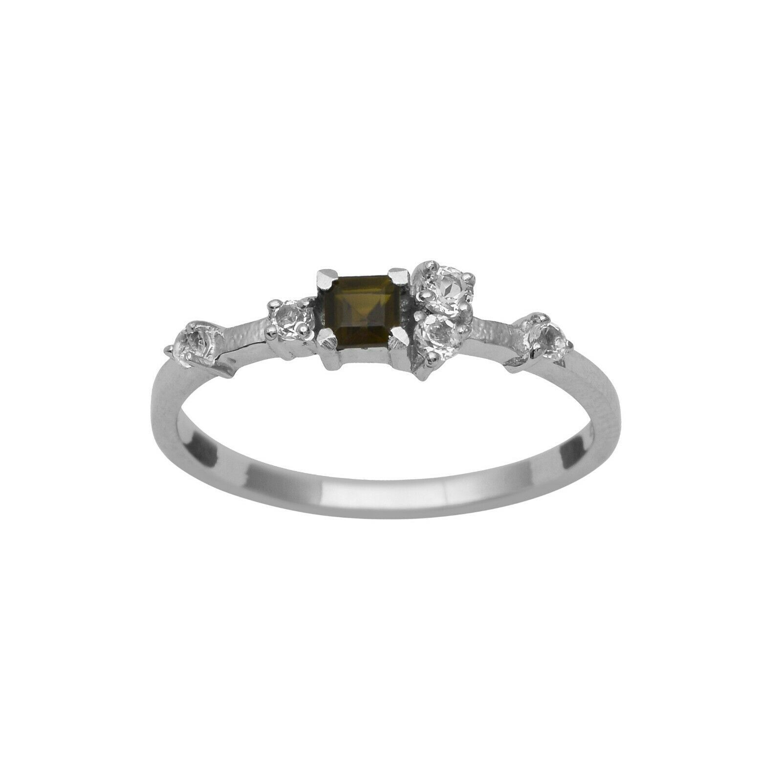 925 Sterling Silver Green Tourmaline White Topaz Engagement Cluster Ring For Her