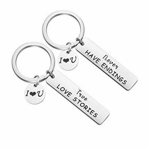 ENSIANTH Couple Gift True Love Stories Never & Have Endings Keychain Set... - $16.73