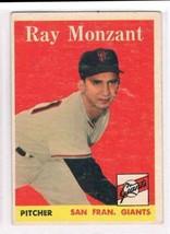 1958 Topps #447 Ray Monzant  San Francisco Giants  - $11.87