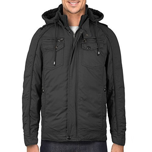 Maximos Men's Hooded Multi Pocket Sherpa Lined Sahara Bomber Jacket (Medium, Cha