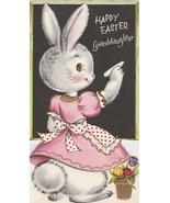 Vintage Easter Card Bunny Rabbit Writes on Blackboard Unused Granddaughter - $8.90