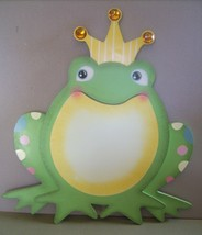 Green Frog Prince With Jeweled Crown Wooden Wall Plaque Child's Room Wal... - $14.99
