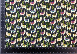 Llama Cacti Multi Black 100% Cotton High Quality Fabric Material 3 Sizes image 3