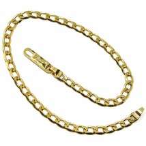 SOLID 18K GOLD GOURMETTE CUBAN CURB LINKS BRACELET 4mm, STRONG BRIGHT, 8... - $690.00