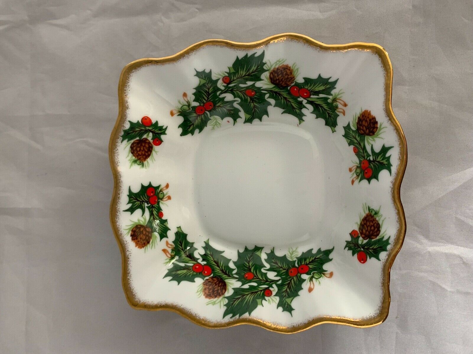 Primary image for Queens Yuletide Holly Nut Dish Bon Bon Rosina Fine Bone China England Christmas